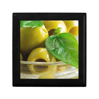 Macro view on olives close-up gift box