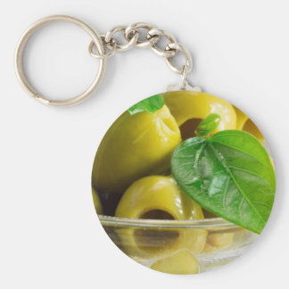 Macro view on olives close-up keychain