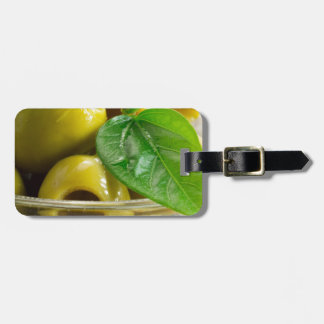 Macro view on olives close-up luggage tag