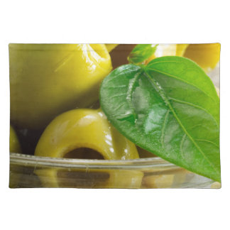 Macro view on olives close-up place mat
