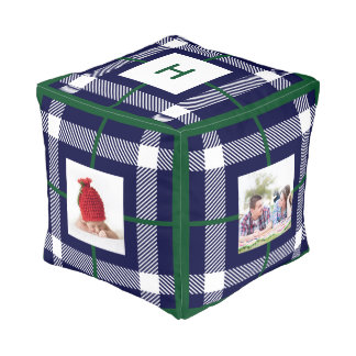 Mad About Plaid Photo Monogram Navy Ottoman