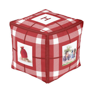 Mad About Plaid Photo Monogram Red Ottoman
