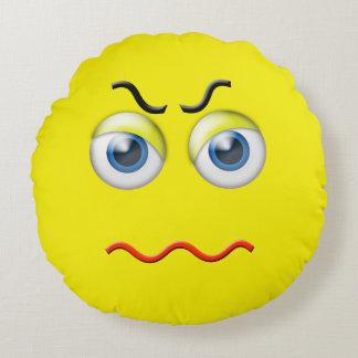 Mad Angry Emoji Round Pillow