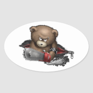 Mad Bear Chainsaw Oval Sticker