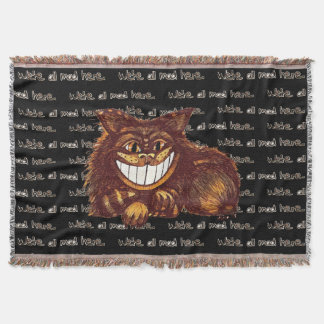 Mad Cat by Aleta Throw Blanket