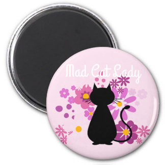 """""""Mad Cat Lady"""" Cat in Pink Flowers Magnet"""