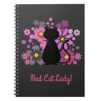"""Mad Cat Lady!"" Cat in Pink Flowers Spiral Note Notebooks"