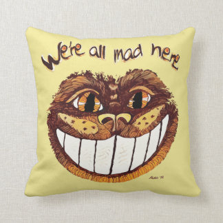 Mad Cat Smile by Aleta Throw Pillow