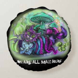 Mad Cat We are all Mad Round Pillow