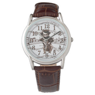 Mad Cellist in Sepia Tones Vintage Humour Wrist Watch