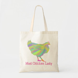 Mad Chicken Lady Colourful Pink Psychedelic Art Tote Bag