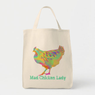 Mad Chicken Lady Colourful Quirky Psychedelic Art Tote Bag
