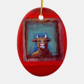 Mad Cow sad indignant upset emotional fun ART Ceramic Oval Ornament