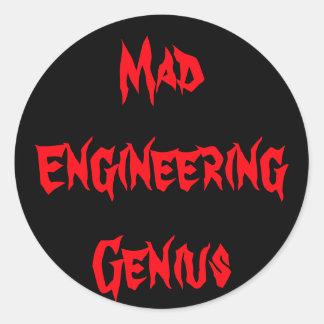 Mad Engineering Genius Geeky Geek Nerd Gifts Round Sticker