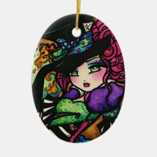 Mad Hatter Alice Wonderland Girl Fantasy Ceramic Oval Ornament