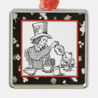 Mad Hatter and Dormouse Metal Ornament