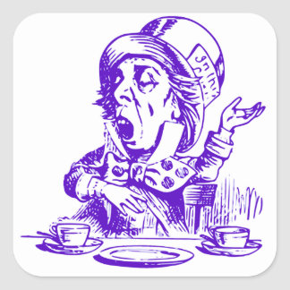Mad Hatter And Tea Cups Square Sticker