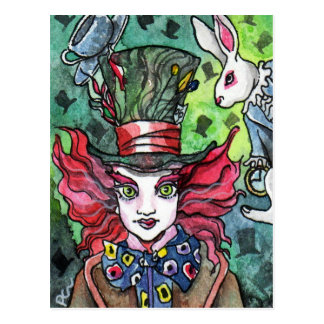 Mad Hatter and white rabbit Postcard