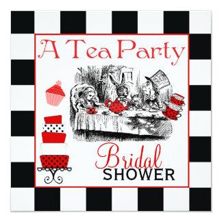 """Mad Hatter Bridal Shower Invite 5.25"""" Square Invitation Card"""
