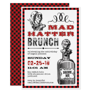 Mad Hatter Brunch Party on White Card