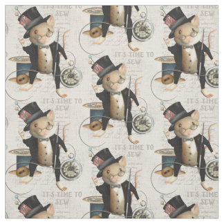 Mad Hatter Sewing Mouse Illustration Fabric