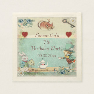 Mad Hatter Tea Party Birthday Party Personalized Paper Napkins