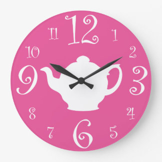 Mad Hatter Tea Party Cute Pink and White Large Clock