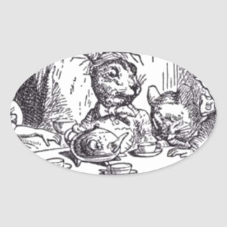 Mad Hatter Tea Party Oval Sticker
