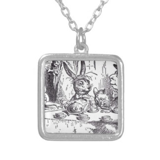 Mad Hatter Tea Party Silver Plated Necklace