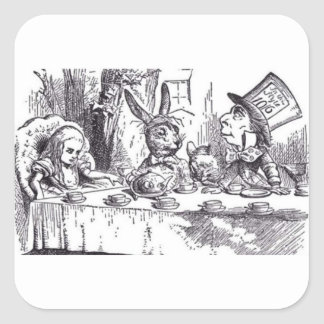 Mad Hatter Tea Party Square Sticker