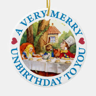 Mad Hatter Wishes Alice a Very Merry Unbirthday Round Ceramic Ornament