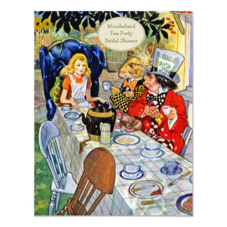 "Mad Hatter's Tea Party Bridal Shower 4.25"" X 5.5"" Invitation Card"