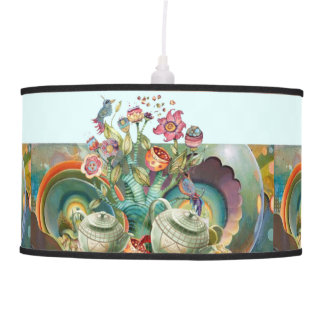 Mad hatters tea party collage pendant lamp