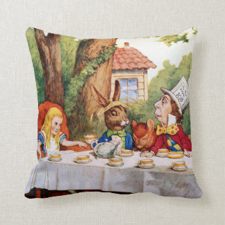 Mad Hatter's Tea Party in Wonderland Throw Pillow