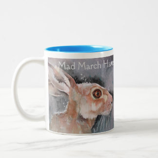 Mad March Hare. Rabbits Two-Tone Coffee Mug