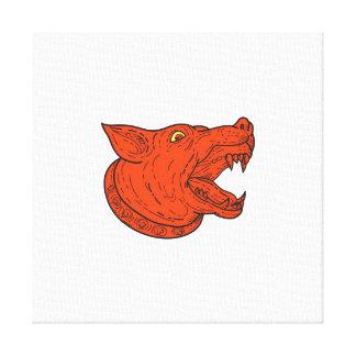Mad Mongrel Dog Head Barking Mono Line Canvas Print