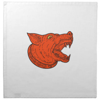 Mad Mongrel Dog Head Barking Mono Line Napkin