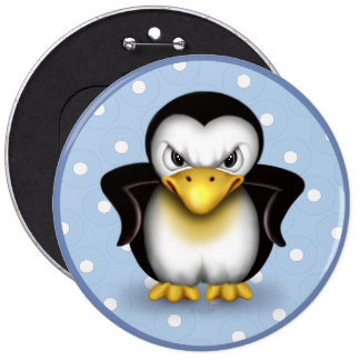 MAD PINGOUIN 2 CARTOON Colossal, 6 Inch 6 Inch Round Button