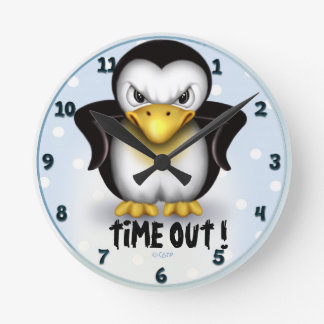 MAD PINGOUIN CARTOON LARGE ROUND CLOCK MEDIUM