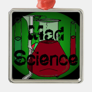 Mad Science Beakers Test Tubes Solutions Silver-Colored Square Ornament