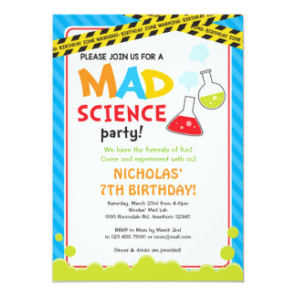 Mad Science Birthday Invitation / Mad Scientist