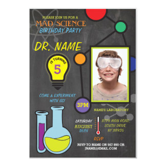 Mad Science Boys girls Birthday Atoms Invitations