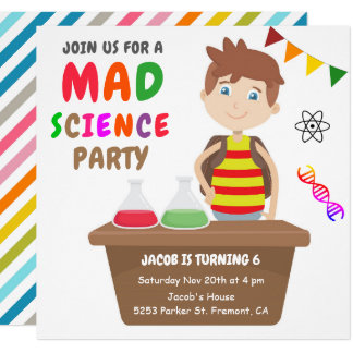 Mad Science Experiment Boys Birthday Party Invite