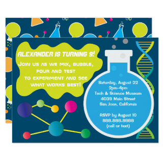 Mad Science Scientist Birthday Party Invitations