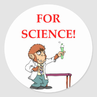 mad scientist classic round sticker