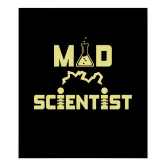 Mad Scientist Electric Science Beaker Poster