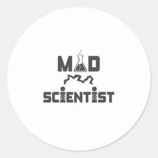 Mad Scientist Electric Science Beaker Round Sticker