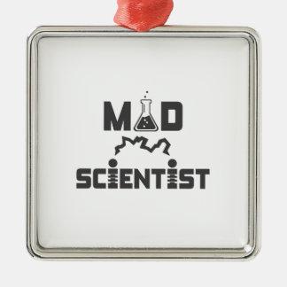 Mad Scientist Electric Science Beaker Silver-Colored Square Ornament