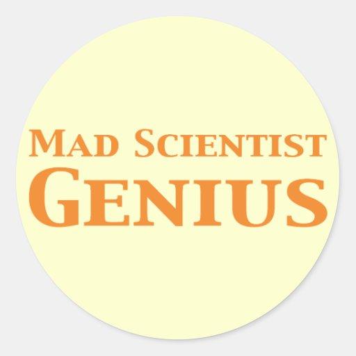 Mad Scientist Genius Round Stickers