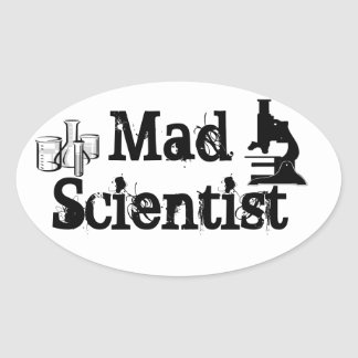 Mad Scientist Oval Sticker